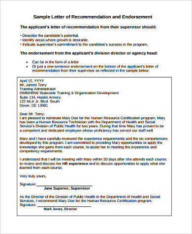 sample letter of recommendation and endorsement