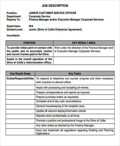 junior customer service resume job description