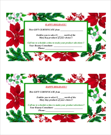 holiday gift certificate printable