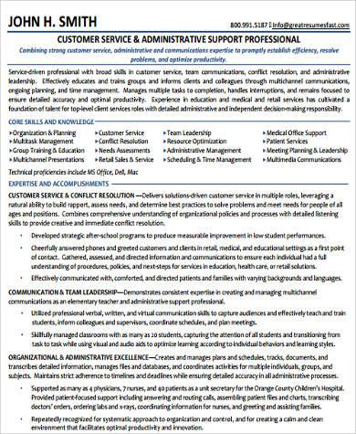 administrative customer service resume