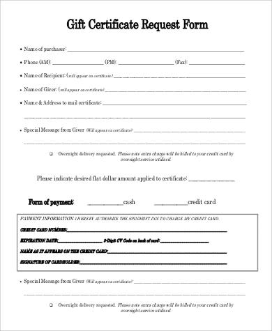 Sample Printable Gift Certificate - 9+ Examples in PDF