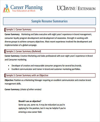 Career Summary Example   Samples In Word Pdf