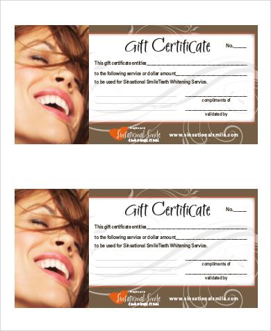 standard gift certificate