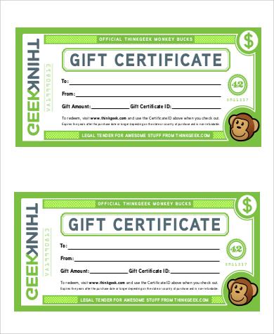 basic gift certificate
