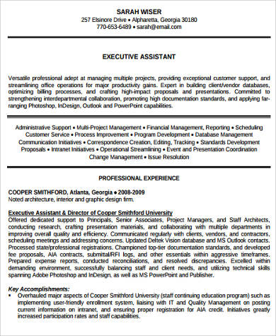 assistant executive resume