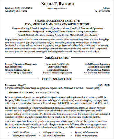 executive general manager resume