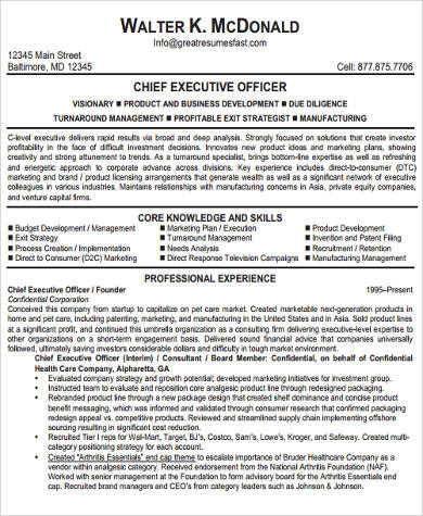 executive officer resume