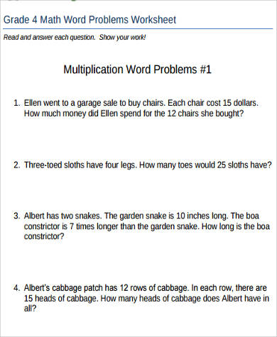 Sample Word Problem Worksheet   Examples In Pdf Word