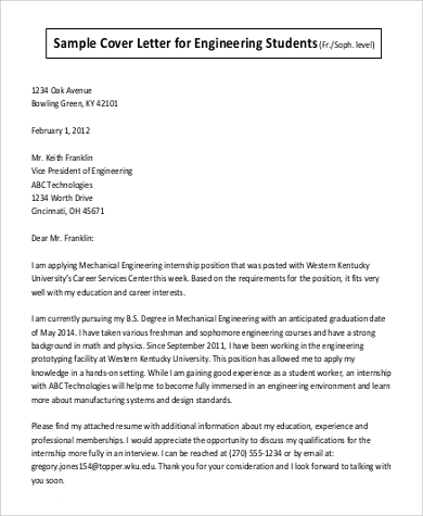 sample cover letter for engineering students sample cover letter for student