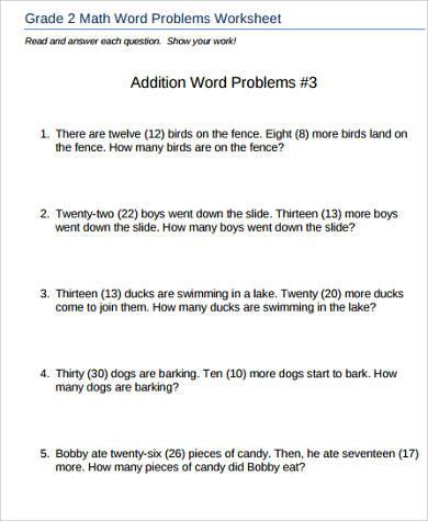 word problem addition worksheet