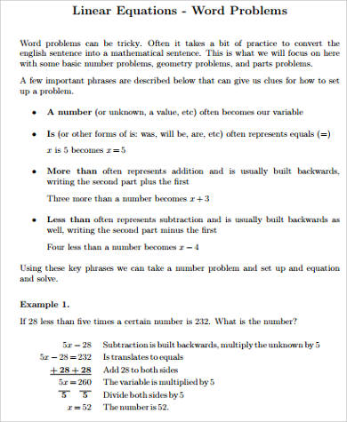 9 sample word problem worksheets sample templates. Black Bedroom Furniture Sets. Home Design Ideas