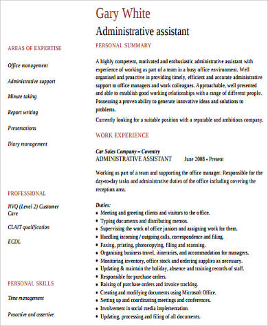administrative assistant work experience resume