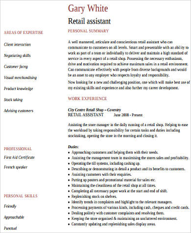 work experience retail resume