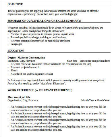 Sample Work Experience Resume 10 Examples In Word Pdf