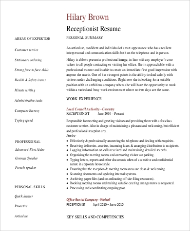 receptionist resume skills sample skills for resume example 9 samples in word pdf 1443