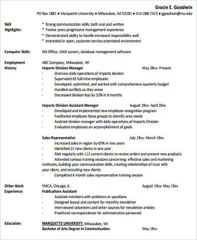 example of work experience resume