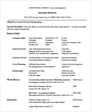 skills for functional resume