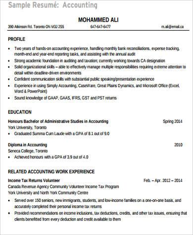 college graduate accounting resume
