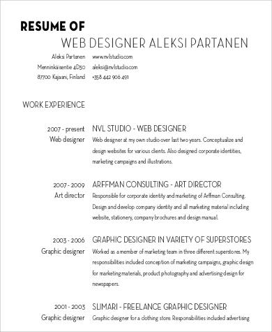 web designer resume example