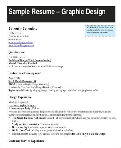 graphic designer resume in pdf - Graphic Design Resume Samples Pdf