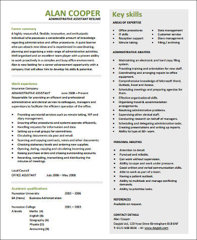 administrative assistant resume with experience