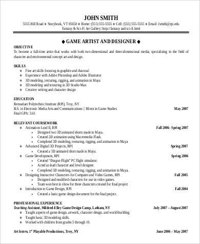 designer resume objective