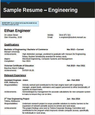 college graduate engineering resume