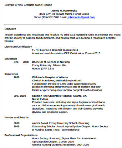 college graduate nursing resume
