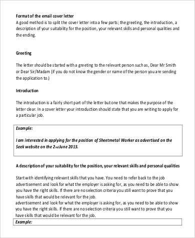 email cover letter sample format