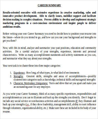 career executive summary word