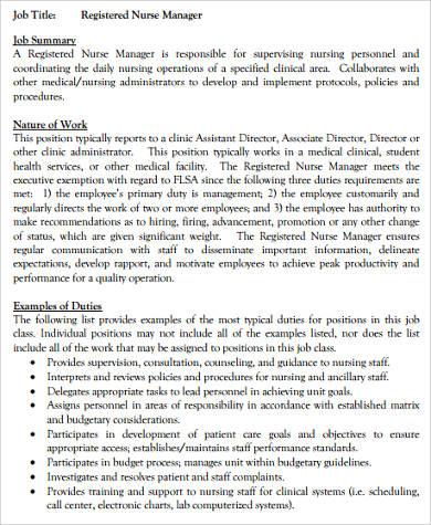 nurse career summary