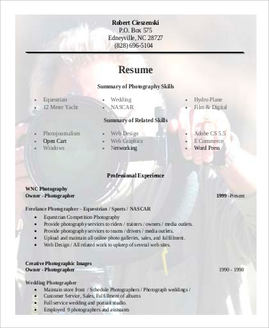 Sample Photographer Resume   Examples In Word Pdf