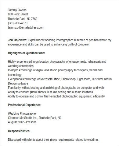 Sample Photographer Resume - 9+ Examples in Word, PDF