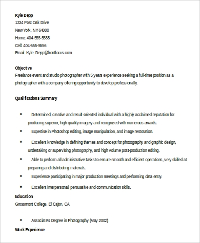 sample photographer resume 9 examples in word pdf
