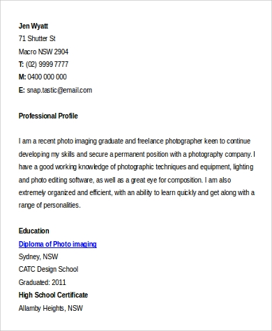 9+ Sample Photographer Resumes | Sample Templates