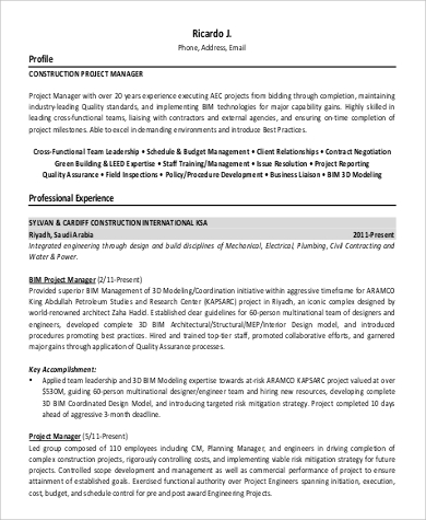 Project Manager Resume Sample 9 Examples In Word Pdf