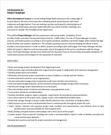 project manager job description for resume