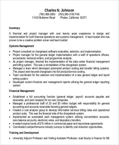 finance project manager resume