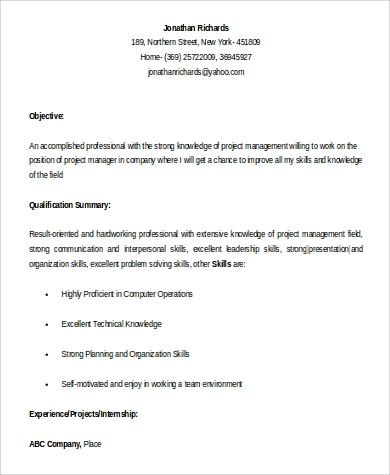 Project Manager Resume Sample - 9+ Examples in Word, PDF