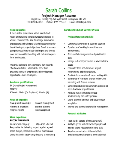 project manager resume in pdf