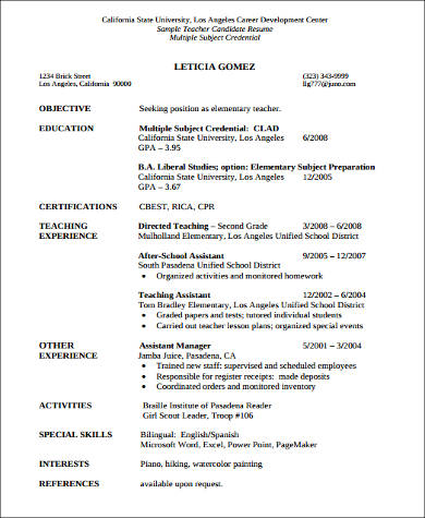 Sample Teacher Assistant Resume - 8+ Examples In Word, Pdf