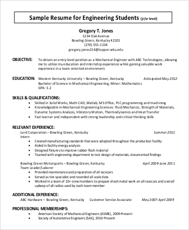 resume objective for engineering student