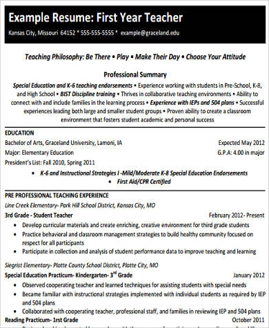 First Year Elementary Teacher Resume | Sample Elementary Teacher Resume 10 Examples In Word Pdf