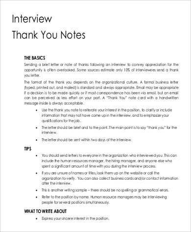 thank you note for interview