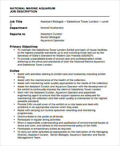 aquarium marine biologist job description