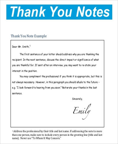 Thank You Note Sample   Examples In Word Pdf