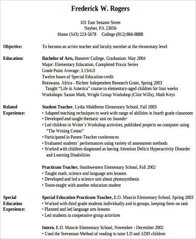 example of elementary teacher resume