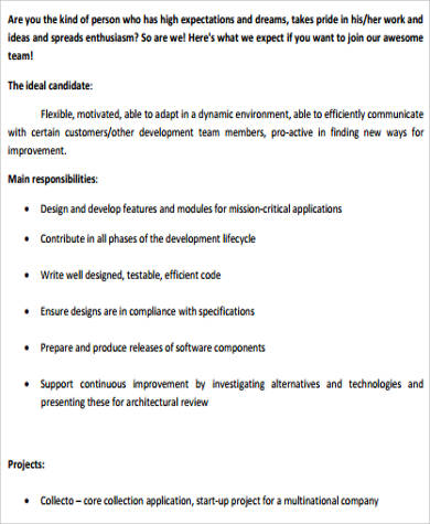 Delicieux Sample Computer Programmer Job Descriptions Examples In Word