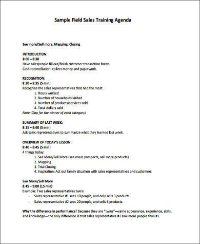 training agenda format1