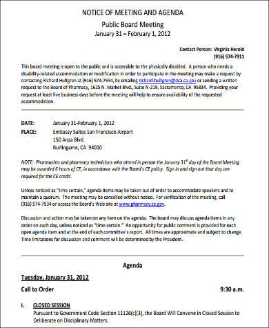 notice and agenda format 1